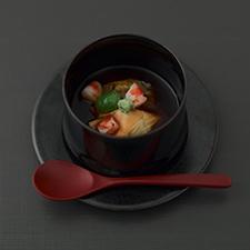 焼き茄子と湯葉 赤味噌の鼈甲あん