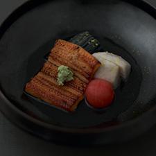 炙り穴子  茄子魚醤炊き  里芋  プチトマト  山葵  柚子