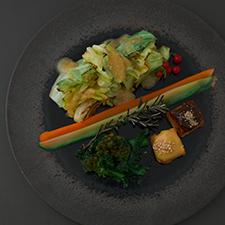 Vegan Menu  春キャベツハーブ焼き  粟麩の田楽  菜花  麹ドレッシング