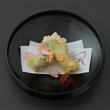甘鯛東寺揚げ 菜花 蕗味噌 海老 花弁百合根