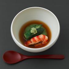 アスパラの葛豆腐  赤出汁の上澄み  巻海老  山葵