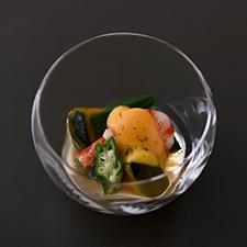 巻海老と夏野菜の冷やし炊き合わせ  酒盗玉子  柚子