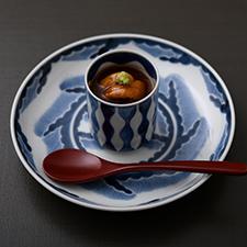 【温物】牡蠣の茶碗蒸し  雲丹  べっこう餡  山葵