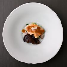 【酢の物】あん肝サラダ仕立て<p>キクラゲ熟成ぽん酢漬け 発酵赤味噌ドレッシング</p>