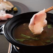 【鍋物】喉黒と松茸のしゃぶしゃぶ 野菜色々 柚子胡椒 豉特選「雅」の上澄み潮出汁